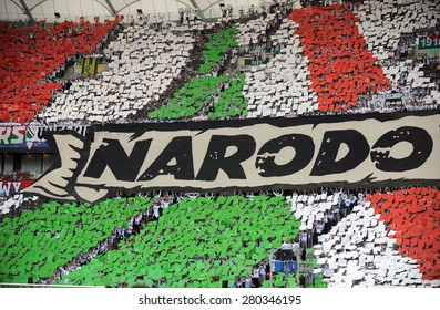 WARSAW, POLAND - MAY 02, 2015: Polish Football League Cup Final Legia Warsaw - Lech Poznan, o/p: Legia fans