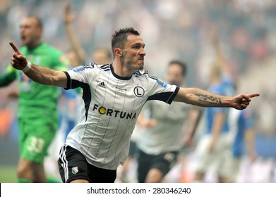 WARSAW, POLAND - MAY 02, 2015: Polish Football League Cup Final Legia Warsaw - Lech Poznan, o/p: Marek Saganowski celebrates after scoring a goal