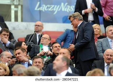 WARSAW, POLAND - MAY 02, 2015: Polish Football League Cup Final Legia Warsaw - Lech Poznan, o/p: Adam Nawalka coach of National Football Team, Arkadiusz Milik Ajax Amsterdam player