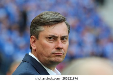 WARSAW, POLAND - MAY 02, 2015: Maciej Skorza, manager of Lech Poznan during Polish Cup Final football match between Legia Warsaw and Lech Poznan at the National Stadium in Warsaw.