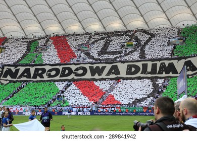 WARSAW, POLAND - MAY 02, 2015: Unidentified fans of Legia Warsaw during Polish Cup Final football match between Legia Warsaw and Lech Poznan at the National Stadium in Warsaw.