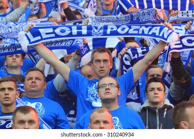 WARSAW, POLAND - MAY 02, 2015: Lech Poznan fans during Polish Cup Final football match between Legia Warsaw and Lech Poznan at the National Stadium in Warsaw.