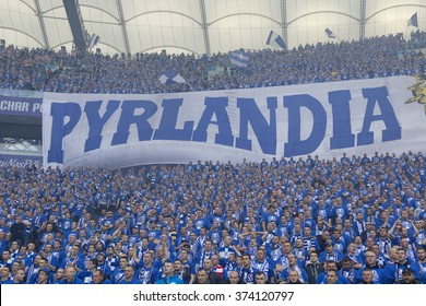 WARSAW, POLAND - MAY 02, 2015: Unidentified fans of Lech Poznan during Polish Cup Final football match between Legia Warsaw and Lech Poznan at the National Stadium in Warsaw.