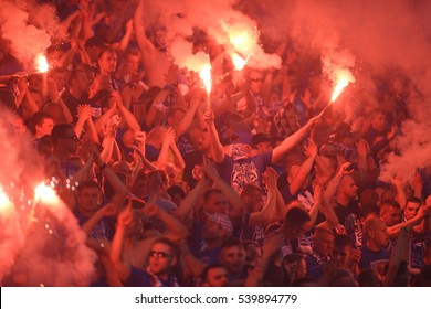 WARSAW, POLAND - MAY 02, 2016: Polish Extra League Polish Premier Football League Lech Poznan football supporters