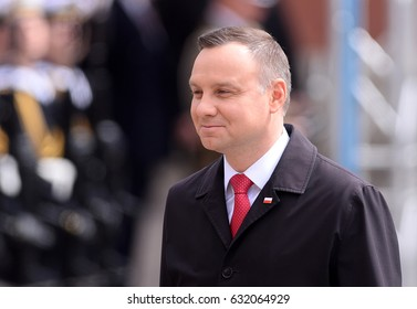 WARSAW, POLAND - MAY 02, 2017: National Flag Day -  President of Poland Andrzej Duda