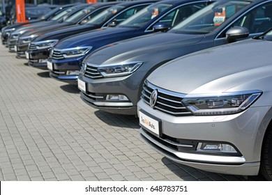 Warsaw, Poland - May, 02, 2017: Volkswagen Passat cars in the row in exhibition point.