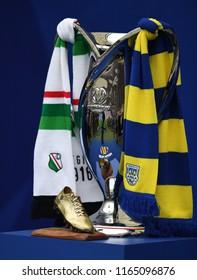 WARSAW, POLAND - MAY 02, 2018: Polish League Cup Final Arka Gdynia vs Legia Warszawao/p: cup