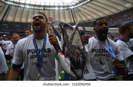 WARSAW, POLAND - MAY 02, 2018: Polish League Cup Final Arka Gdynia vs Legia Warszawao/p: Eduardo Alves Da Silva (Legia Warszawa)  Carlos Dias (Legia Warszawa)