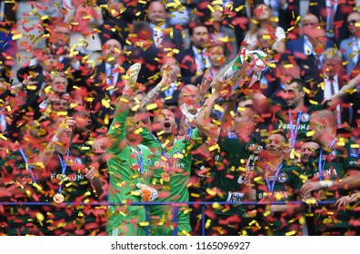 WARSAW, POLAND - MAY 02, 2018: Polish League Cup Final Arka Gdynia vs Legia Warszawao/p: Legia Warszawa with the cup Arkadiusz Malarz (Legia Warszawa) Radoslaw Ciezniak (Legia Warszawa)