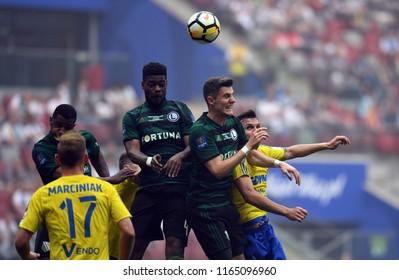 WARSAW, POLAND - MAY 02, 2018: Polish League Cup Final Arka Gdynia vs Legia Warszawao/p: William Remy (Legia Warszawa) Chris Philipps (Legia Warszawa)  Dawid Soldecki (Arka Gdynia)