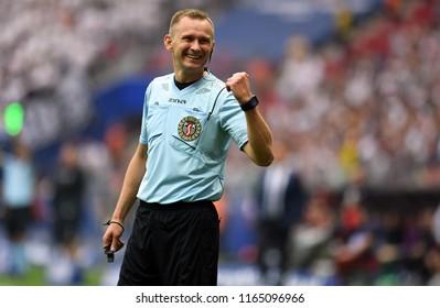 WARSAW, POLAND - MAY 02, 2018: Polish League Cup Final Arka Gdynia vs Legia Warszawao/p: refree Piotr Lasyk