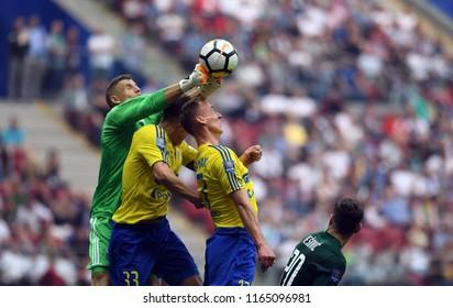 WARSAW, POLAND - MAY 02, 2018: Polish League Cup Final Arka Gdynia vs Legia Warszawao/p: Radoslaw Ciezniak (Legia Warszawa)  Damian Zbozien (Arka Gdynia) Adam Marciniak (Arka Gdynia)
