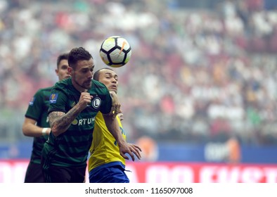 WARSAW, POLAND - MAY 02, 2018: Polish League Cup Final Arka Gdynia vs Legia Warszawao/p: Marko Vesovic (Legia Warszawa) Marcus da Silva (Arka Gdynia)
