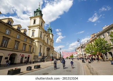 WARSAW, POLAND - MAY 03, 2015: Holy Cross Church designed by the architect Joseph Simon Bellotti,  built between 1679-1696 in Baroque style