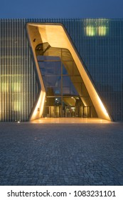 Warsaw, Poland - May 03, 2108: Exterior of the Museum of the History of Polish Jews at Dusk,