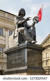 Warsaw, Poland, MAY 03.2016  - View of Nicolaus Copernicus Monument in Warsaw. The giant statue and its model solar system honor the native Pole who declared that the Earth revolves around the Sun.