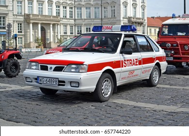 Warsaw, Poland - May, 06, 2017: Classic FSO Polonez Caro Plus during presentation on Fire Brigade Day.