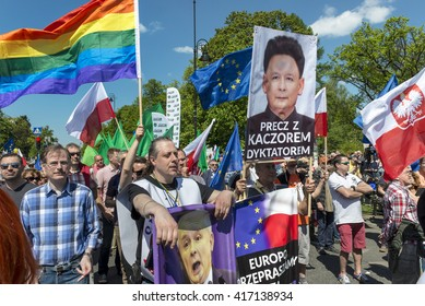"WARSAW, POLAND - MAY 07, 2016: Supporters opposition march ""We are and will remain in Europe� in defence of democracy organized by Polish Committee for the Defence of Democracy (KOD)"
