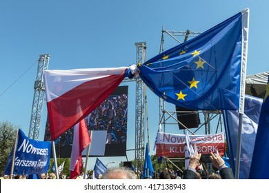 """WARSAW, POLAND - MAY 07, 2016: Supporters opposition march """"We are and will remain in Europe� in defence of democracy organized by Polish Committee for the Defence of Democracy (KOD)"""
