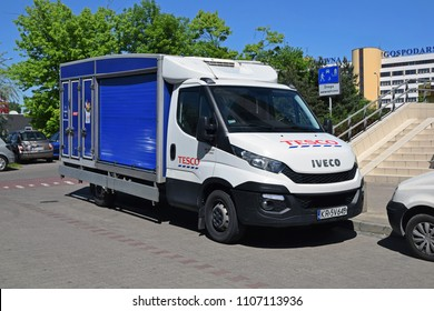 Warsaw, Poland - May, 07, 2018: Iveco Daily Tesco delivery van on parking.