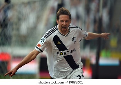 WARSAW, POLAND - MAY 08, 2016: Extra League Polish Premier Football League Legia Warsaw Piast Gliwice