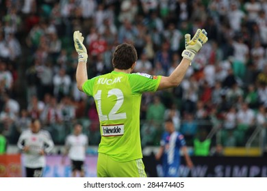 WARSAW, POLAND - MAY 09, 2015: Dusan Kuciak, Slovakia and Legia Warsaw goalkeeper during Polish League football match between Legia Warsaw and Lech Poznan in Warsaw.