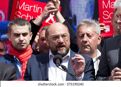 WARSAW, POLAND - MAY 1, 2014: Martin Schulz, German politician and President of the European Parliament during the International Workers Day (Labor Day), on May 1, 2014 in Warsaw, Poland.