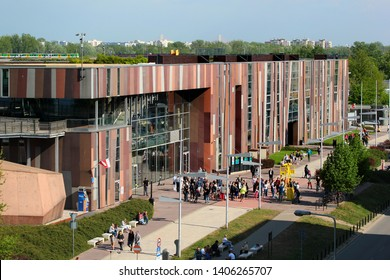 Warsaw, Poland - May 1, 2019: Copernicus Science Centre, a science museum standing on the bank of the Vistula River in Warsaw, Poland.