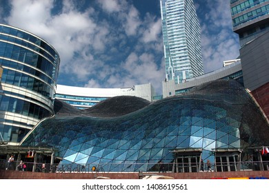 Warsaw, Poland - May 1, 2019: Zlote Tarasy (Golden Terraces), a commercial, office and entertainment complex in the center of Warsaw, located next to Warszawa Centralna railway station.