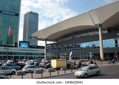 Warsaw, Poland - May 1, 2019: Building of Warsaw Central Railway Station, the primary railway station and the main transportation hub in central Poland.