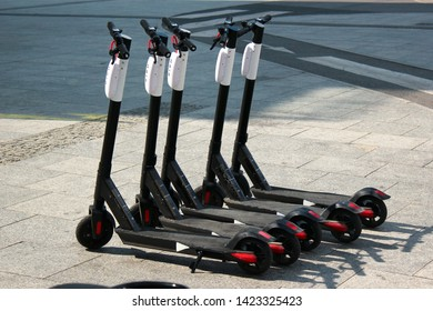 Warsaw, Poland - May 1, 2019: Electric scooters are ubiquitous on Warsaw streets. They provide quick and easy way to trave around the city.