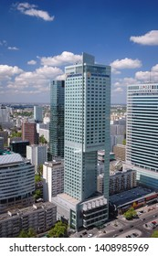 Warsaw, Poland - May 10, 2006: Aerial view in Warsaw, capital city of Poland with InterContinental Warsaw hotel an Warsaw Financial Center