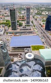 Warsaw, Poland - May 17, 2012: Marriott Hotel, Oxford Tower, Warszawa Centralna railway station and Golden Terraces complex in Warsaw city