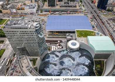 Warsaw, Poland - May 17, 2012: Aerial view in Warsaw, capital city of Poland with Warszawa Centralna railway station and Golden Terraces complex