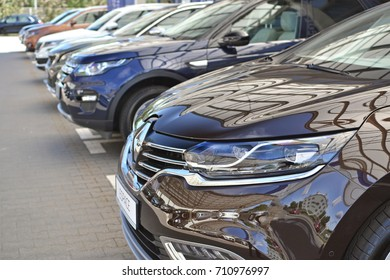 Warsaw, Poland - May, 17,2017: Various new cars in a row on the parking during presentation.