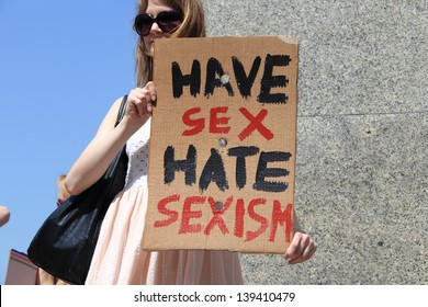 WARSAW, POLAND - MAY 18: Have sex hate sexism banner on May 18, 2013, in Warsaw, Poland. The Slut Walk is a worldwide movement to protest the further victimization of sexual abuse victims.