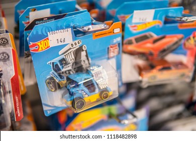 Warsaw, Poland, May 19, 2018 Hotwheels car in Airport store, box on the shop display