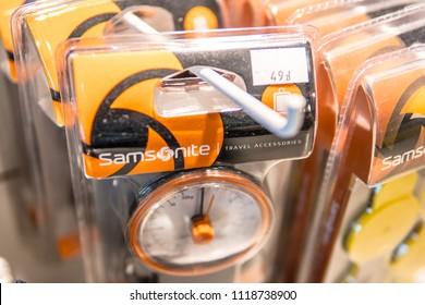 Warsaw, Poland, May 19, 2018 Airport, travel accessories, Samsonite travel weight