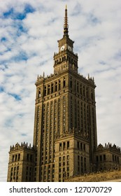 WARSAW, POLAND - MAY 2: Palace of culture and science in sunset light on May 2, 2010 in Warsaw. Palace is a Warsaw landmark