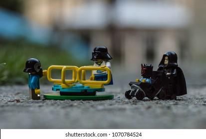 Warsaw, Poland - May 2017 - lego star wars minifigures young siths play with emperor palpatine
