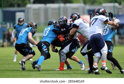 WARSAW, POLAND - MAY 24, 2015: American Football Polish Top League match Warsaw Eagles and Wroclaw Panthers