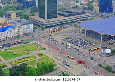 WARSAW, POLAND - MAY 25, 2018 - Above view of Warszawa Centralna (Warsaw Central) main railway station, with the interection of Jerozolimskie Av and Emilii Plater streets, seen from Palace of Culture
