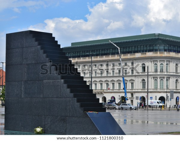 Warsaw / Poland - May 25, 2018: Monument of the Victims of the Smolensk Tragedy of 2010, monument  is located on the square of Marshal Jozef Pilsudski in Warsaw.