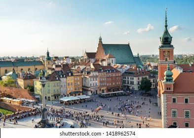Warsaw, Poland- May 25, 2019: Panorama of historic part and Royal Castle in Warsaw Poland at sunset. Top view.