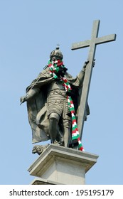 WARSAW, POLAND - MAY 25: Column of the King Sigismund III Vasa with the Legia Warszawa football club scarf on the King's neck on May 25, 2014 in Warsaw, Poland. The scarf was put by fans of the club.