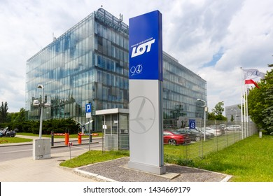 Warsaw, Poland – May 27, 2019: LOT Polskie Linie Lotnicze headquarters at Warsaw airport (WAW) in Poland.