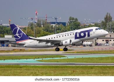 Warsaw, Poland - May 27, 2019: LOT Polskie Linie Lotnicze Embraer 170 airplane at Warsaw Warszawa airport (WAW) in Poland.
