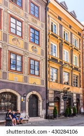 WARSAW, POLAND - MAY 28, 2016: Colorful buildings on Old Town Market Place (Rynek Starego Miasta) in Warsaw, Poland. UNESCO World Heritage Site.