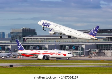 Warsaw, Poland – May 29, 2019: LOT Polskie Linie Lotnicze Embraer 195 airplane at Warsaw airport (WAW) in Poland.