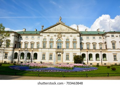 WARSAW, POLAND - MAY 3, 2016. Exterior view of Krasinski Palace in Warsaw, with garden.